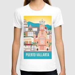 Puerto Vallarta, Mexico - Skyline Illustration by Loose Petals T-shirt