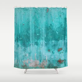 Weathered turquoise concrete wall texture Shower Curtain