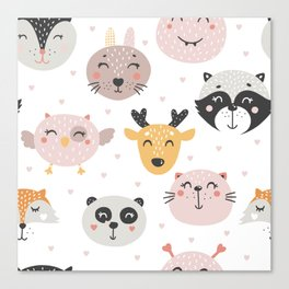 Woodland Critters Pattern Canvas Print