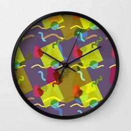 Neo Memphis Fun - Purple Wall Clock