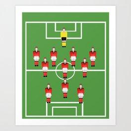 Soccer football team in red Art Print