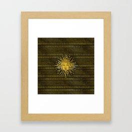 Apollo Sun Symbol on Greek Key Pattern Framed Art Print