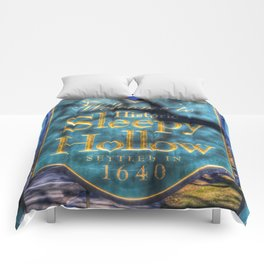 Sleepy Hollow Village Sign Comforters