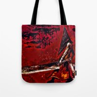 silent hill Tote Bags featuring Silent Hill Pyramid Head by Joe Misrasi