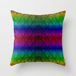 Bright Metallic Rainbow Python Snake Skin Throw Pillow