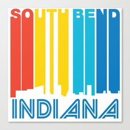 Retro 1970's Style South Bend Indiana Skyline Canvas Print
