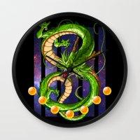 dragon ball Wall Clocks featuring Dragon by TxzDesign