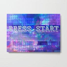 PRESS START Metal Print
