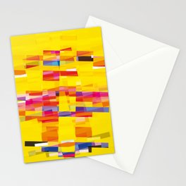 yellow pixel storm Stationery Cards