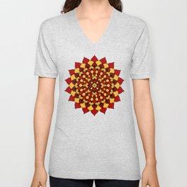 Red & Gold Floral Mandala Unisex V-Neck