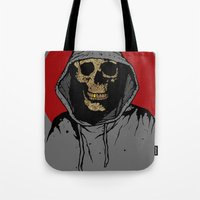 returns Tote Bags featuring Skullboy Returns by Matthew Dunn