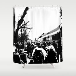 ALL ABOARD! Waiting to get on the Train! Shower Curtain