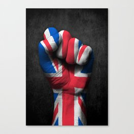 Union Jack Flag of The United Kingdom on a Raised Clenched Fist Canvas Print