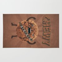 cookie monster Area & Throw Rugs featuring Chewy Chocolate Cookie Wookiee by badbugs_art