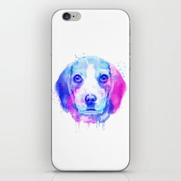 Beagle watercolor, Watercolor beagle, Watercolor dog, Beagle portrait iPhone Skin