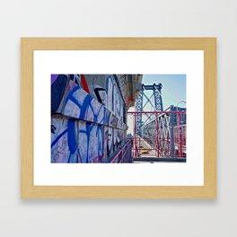 Williamsburg Bridge traffic Framed Art Print