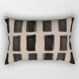 Brush Strokes Vertical Lines Black on Nude Rectangular Pillow