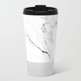 White Marble with Black and Grey Silver Stripe Travel Mug