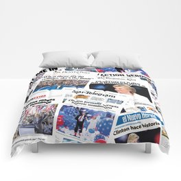 Hillary 2016 Historic Front Pages Comforters