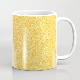 The Most Detailed Intricate Mandala (Mustard Yellow) Maze Zentangle Hand Drawn Popular Trending Coffee Mug