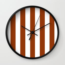 Citrine Brown - solid color - white vertical lines pattern Wall Clock