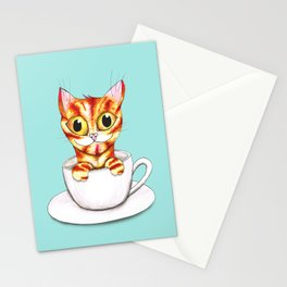 Striped coffee cat Stationery Cards