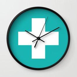 Swiss Cross Turquoise Wall Clock
