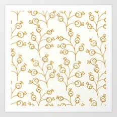 Golden floral pattern on cream Art Print