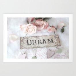 Shabby Chic Dream Roses Art Print
