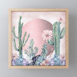Desert Sun + Gemstones Rose Gold Pink Watercolor Framed Mini Art Print