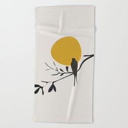 Bird and the Setting Sun Beach Towel