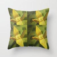 crane Throw Pillows featuring Crane by Hugo F G