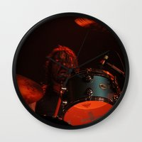 dave grohl Wall Clocks featuring dave grohl by Hattie Trott