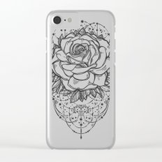 Rose on Blue Clear iPhone Case