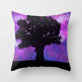 Starry pink night Throw Pillow