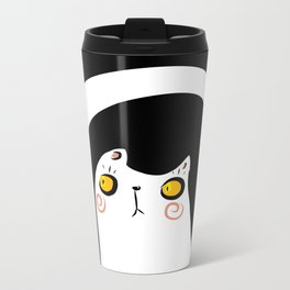 Dark Night White Cat Metal Travel Mug