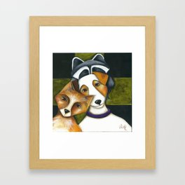 Dog Fox Raccoon Forest Friends Jack Russell Terrier Original art by Deb Harvey Framed Art Print