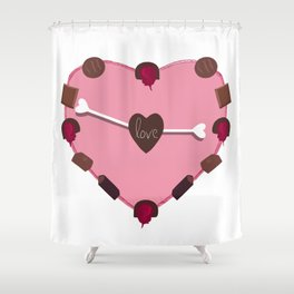CHOCOLATES FROM THE HEART Shower Curtain