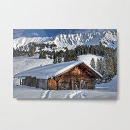 Winter Cabin Metal Print
