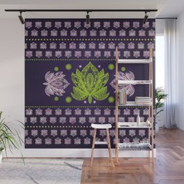 Lotus Flower in Bright green and Rose quartz Wall Mural