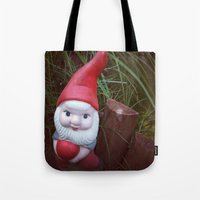 gnome Tote Bags featuring Chubby Gnome by Amber Dawn Hilton