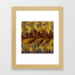 Electric-Blue, Brown, and Gold Abstract Framed Art Print