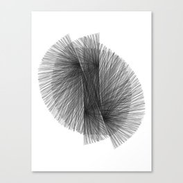 Black & White Radiating Lines Mid Century Modern Geometric Abstract Canvas Print