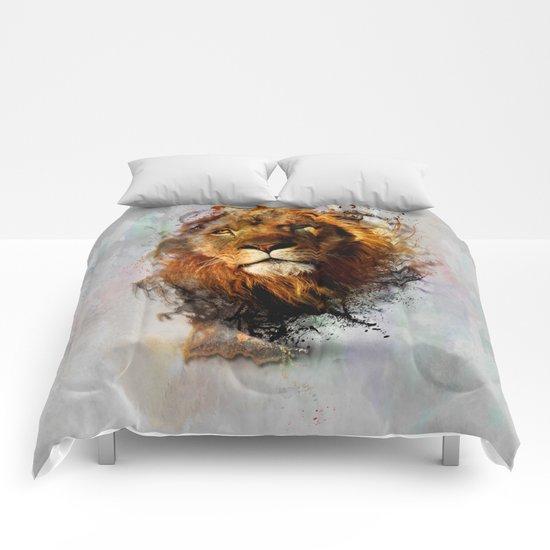 Water Color Splash Lion Comforters