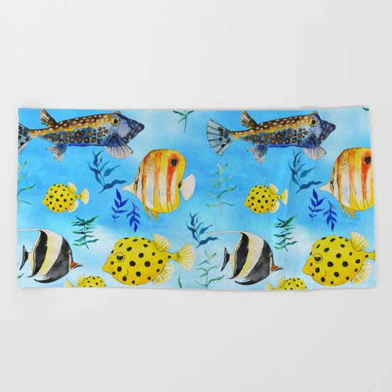 The deep sea-fishes in the sea- watercolor I Beach Towel