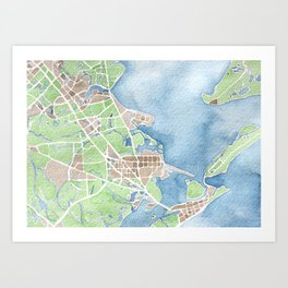 Coastal Map of Galveston TX Art Print