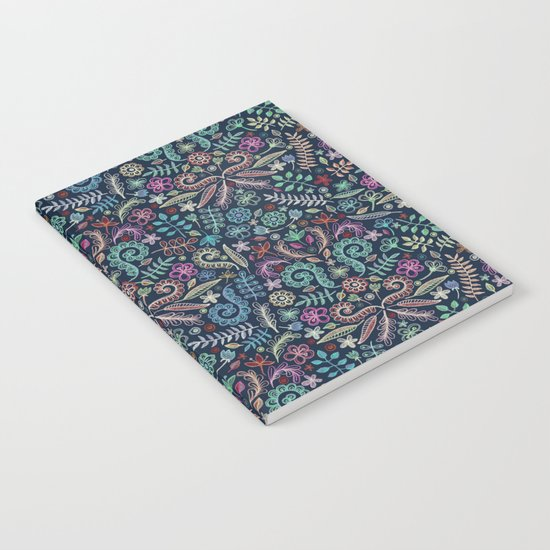Colored Chalk Floral Doodle Pattern Notebook