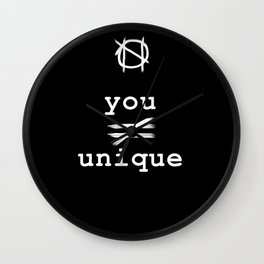 you do not equal unique (white) Wall Clock