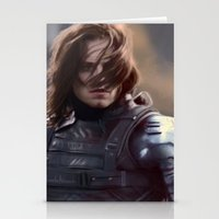 the winter soldier Stationery Cards featuring Winter Soldier by LindaMarieAnson