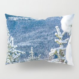 Powder Forest // Through the Trees Blue Snow Cap Mountain Backdrop Pillow Sham